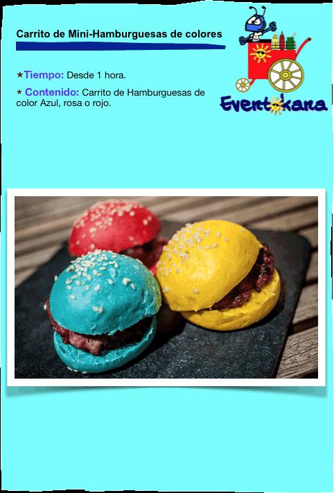 carrito de hamburguesas de colores